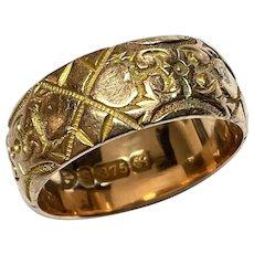 Antique Edwardian 1902 9k 9ct Gold Heart Wide Wedding Band Ring