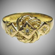 Large English Art Deco 1920 18k 18ct Gold Diamond Knot Ring