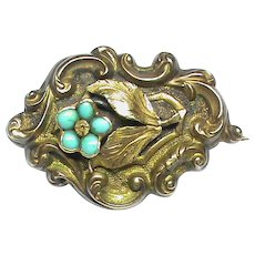 Antique Georgian 15k 15ct Gold Turquoise Forget-me-not Flower Mourning Brooch with locket back