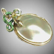 Antique French 19th Century 18k 18ct Gold Enamel SNAKE Blister Pearl Locket Pendant
