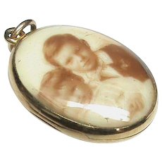 Antique Edwardian 15k 15ct Gold Rock Crystal Double Sided Locket Pendant with sepia miniatures