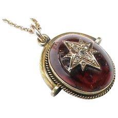 Antique Victorian 15k 15ct Gold Garnet Diamond Pendant on 9k 9ct Chain