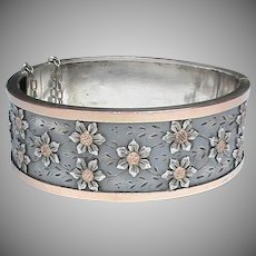 Small Antique Victorian French Silver Wide Bangle with Gold Flower Decor