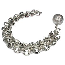 Antique c1900 French Silver (800-900) Large Bracelet and Orb Ball Charm - Red Tag Sale Item