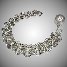Antique c1900 French Silver (800-900) Large Bracelet and Orb Ball Charm