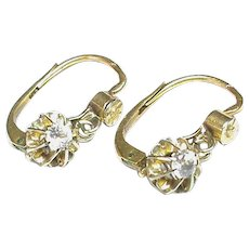 Antique French c1900 18k 18ct Gold White Sapphire Earrings