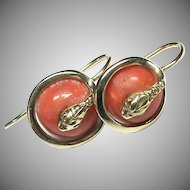Antique Victorian 9k 9ct Coral SNAKE Earrings