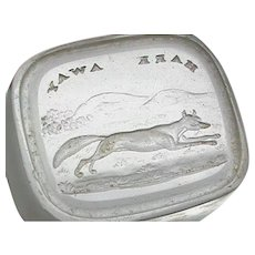 Antique 19th Century Loose Glass Intaglio Tassie Seal of a Fox HARK AWAY