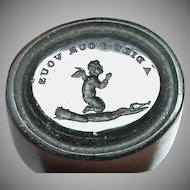 Antique 19th Century Loose Glass Intaglio Tassie Seal of Cherub / Cupid praying