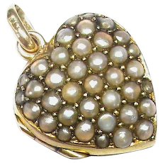Antique Victorian 9k 9ct Gold Seed Pearl Heart Locket