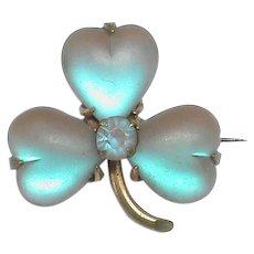 Antique Victorian SAPHIRET heart shaped leaf Shamrock Brooch