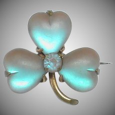 Antique Victorian SAPHIRET heart shaped leaf Shamrock Brooch