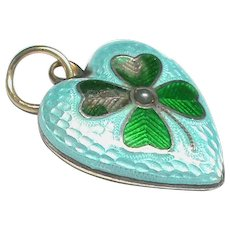 Antique Victorian c1900 9k 9ct Gold & Sterling Silver Enamel Lucky Four Leaf Clover Charm Pendant