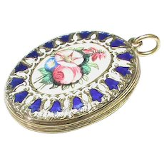 Antique Victorian 9k 9ct Gold Back & Front Enamel Flower Locket Pendant