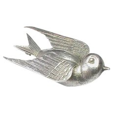 Large Antique Victorian Sterling Silver SWALLOW Bird Brooch