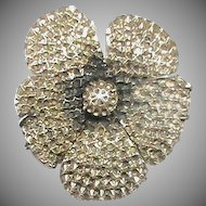 Large Antique Victorian Sterling Silver Pansy Brooch