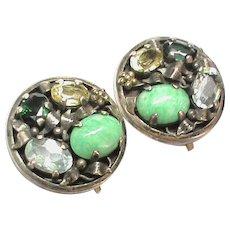 Vintage Arts & Crafts Sterling Silver Aquamarine gemstone Earrings attrib Bernard Instone
