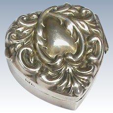 Antique Edwardian 1901 Sterling Silver Heart Trinket Box