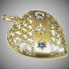 Antique Victorian c1900 9k 9ct Gold Sapphire Diamond Heart Pendant
