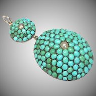 Large Antique Victorian Sterling Silver Turquoise & Seed Pearl Pendant - Locket back