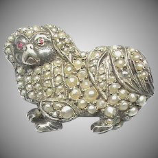 Antique Victorian Sterling Silver Seed Pearl Pekingese DOG Brooch