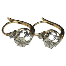 Antique French c1910 18k 18ct Gold Diamond Earrings