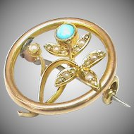 Antique c1915 15k 15ct Gold Turquoise & Seed Pearl Brooch