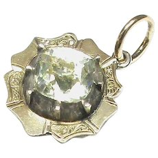 Antique Georgian small Sterling Silver & Gold Paste Drop Pendant or Charm