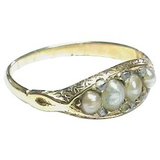 Antique Victorian 18k 18ct Gold Seed Pearl & Rose Cut Diamond Ring