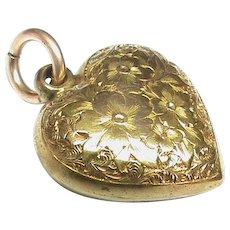 Antique Victorian 15k 15ct Gold etched Heart Locket Charm Pendant