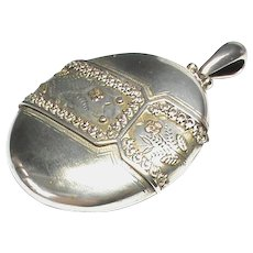 Antique Victorian Sterling Silver Large Locket with gold decor