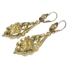 Antique Victorian Gold Filled Big Dangly Earrings