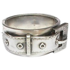 Antique Victorian 1883 Sterling Silver Wide Buckle Bangle for a small wrist