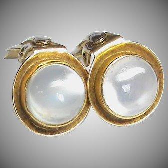 Vintage 9k 9ct Gold Moonstone Clip Earrings