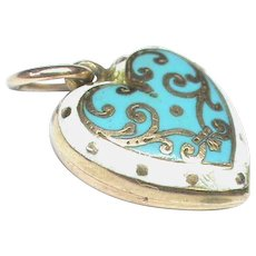 Antique Victorian 9k 9ct Gold Blue Enamel Heart Charm