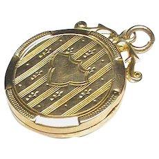 Antique English 1917 9k 9ct Gold Locket Pendant