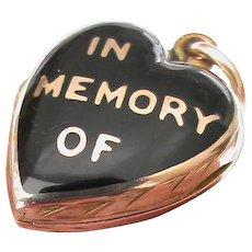 Antique Victorian 9k 9ct Gold Back & Front Enamel Mourning Heart Locket