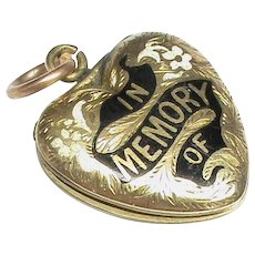 Antique early Victorian 9k 9ct Gold Back & Front Enamel Mourning Heart Locket