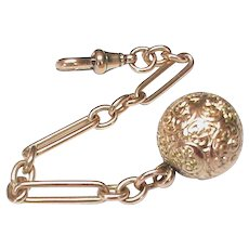Antique Victorian 9k 9ct Gold Ball Fob Charm on albertina chain