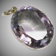 Antique Georgian 9k 9ct Gold Amethyst Drop Pendant