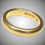 Heavy Large Vintage English 1926 22k 22ct Gold Wedding Band Ring