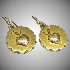 Antique Victorian 18k 18ct Gold Earrings