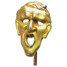 Quality Antique c1900 French FIX Gold Filled MASK Stickpin Stick Pin