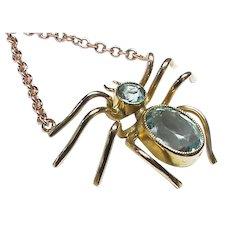 Superb 9k Gold Blue Paste Spider Pendant on 9ct chain