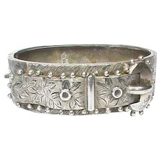 Antique Victorian 1883 Sterling Silver Buckle Bangle