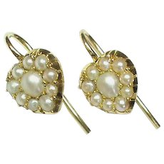 Antique Victorian 18k 18ct Gold Seed Pearl HEART Earrings