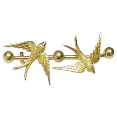 Antique Victorian 15ct 15k Gold Double Swallow Brooch