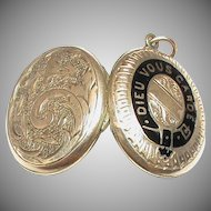 Antique Victorian 9k 9ct Gold Back & Front GOD BLESS YOU Enamel Locket Pendant