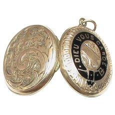 Antique Victorian 9k 9ct Gold Back & Front GOD BLESS YOU Enamel Locket Pendant