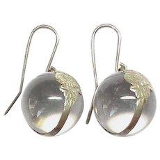 Antique Art Nouveau Pools of Light Rock Crystal Ball Earrings